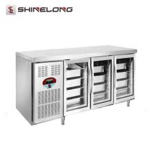 R256 1.8m 3 puertas de cristal Lujoso refrigerador para debajo de la encimera de la bandeja