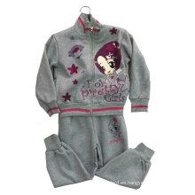 Traje del paño grueso y suave de la muchacha de la moda en el desgaste del deporte de la ropa de los niños (SWG-118)