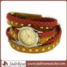 Two Color Leather Strap Fashion Ladies Quartz Watch