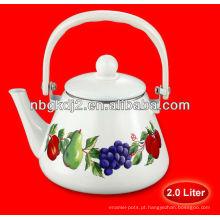 Chaleira do chá do esmalte de 2.0L / chaleira da água com punho da baquelite e botão plástico