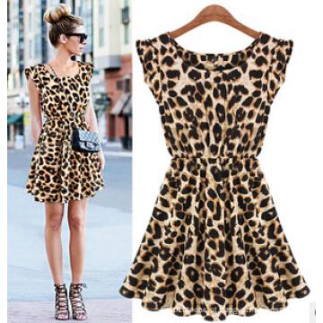Vestidos 2015 da menina doce da forma nova do leopardo