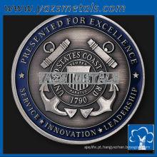personalize moedas de metal, moedas personalizadas de comandante de níquel de alta qualidade com acabamento antigo e esmalte