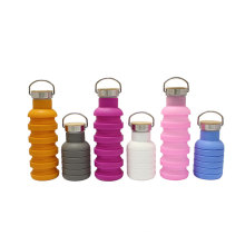 Food safe reusable silicone foldable water bottle wholesale