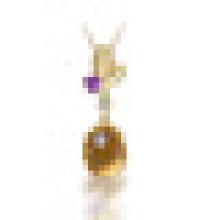 2.80CT Ovale Naturel Jaune Citrine Améthyste Feuilles Pendentif Collier S925 En Argent Sterling pour les Femmes Pierre de Naissance Bijoux