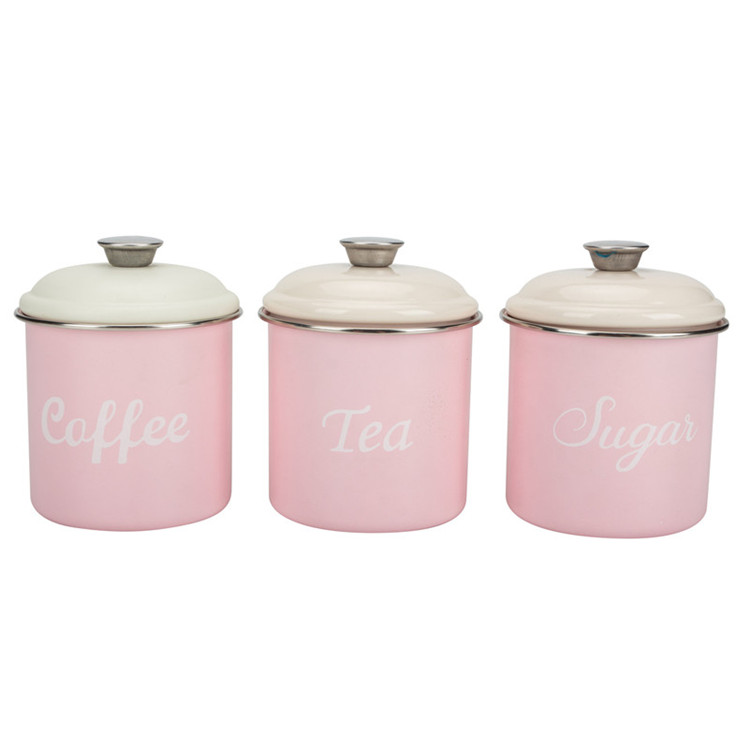 Set 3 Tea sugar coffee canister metal tin
