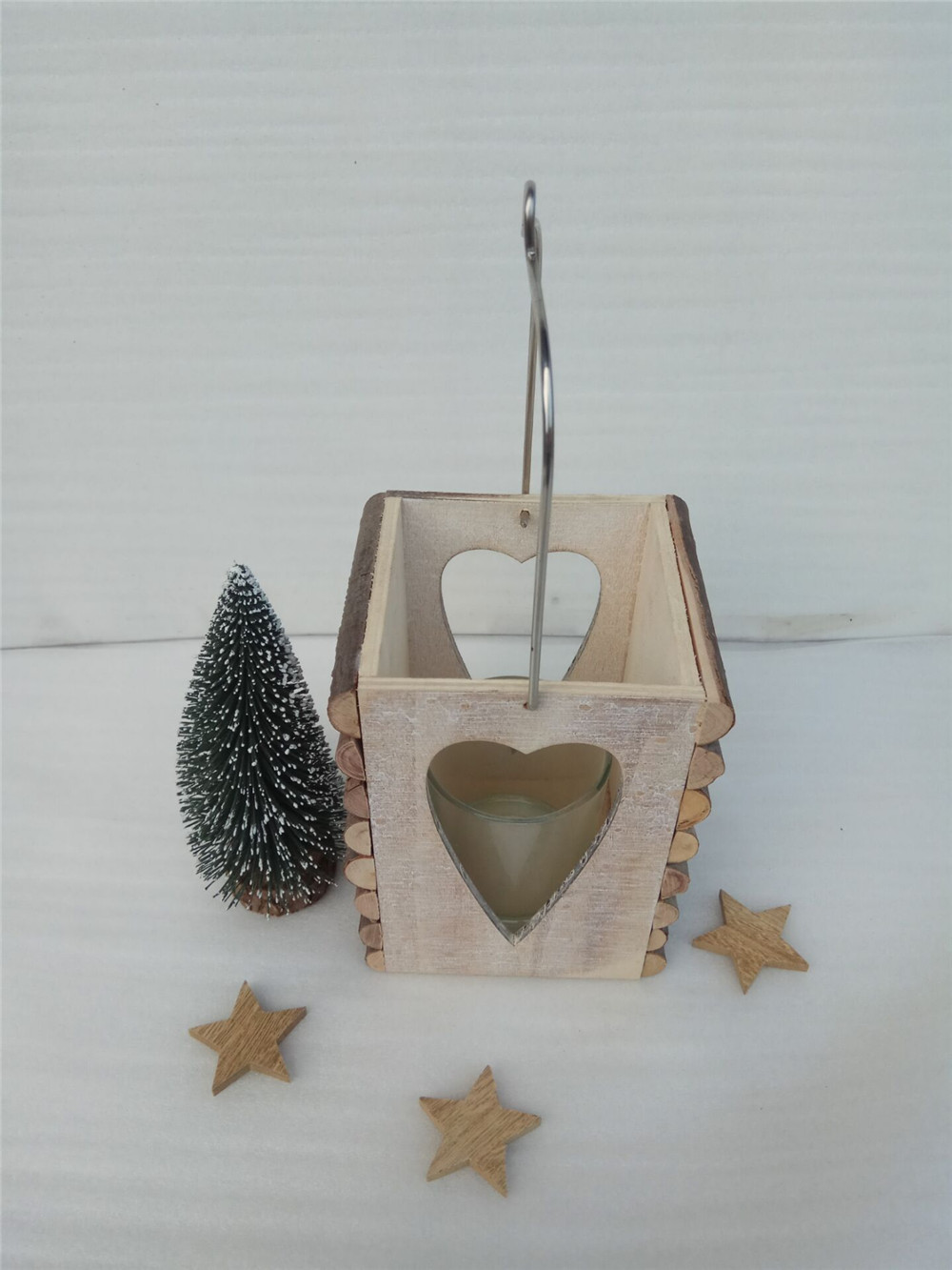 wooden candle holder with branch