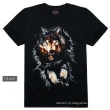 T100256 Projeto do tatuagem do lobo - tatuagem preto camisetas
