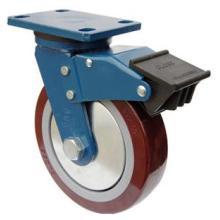Roulette pivotante PU avec double frein (rouge)
