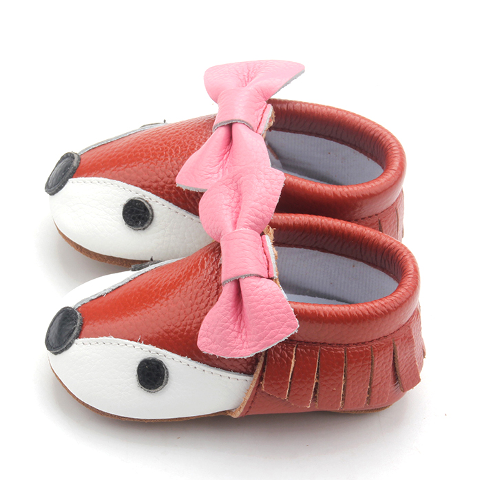 Soft Toddler Girls Animal Bowknot Baby Leather Moccasins