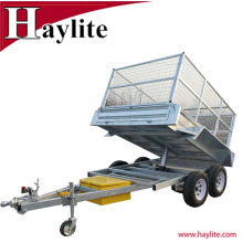 Fully Hot Dip Galvanized tandem tipping box trailer with cage