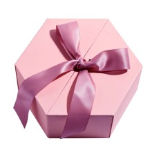 Pink Stamp Foil Cardboard Hexagon Shaped Gift Box