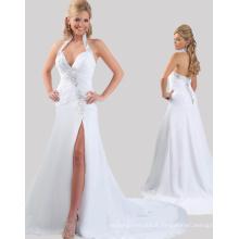 Alibaba Robes de mode bon marché en ligne Halter Open Black Chiffon White avec strass pour la soirée RO11-23