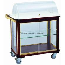 Hotel Copper Wood Dishes Trolley (DE27)