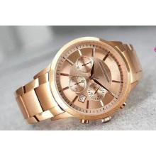 Классический Золотой хронограф розового золота полосу бизнес-нуворишей роскошные мода три глаз хронограф кварцевые мужские часы