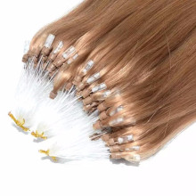 8A Russian remy human hair Silk straight micro bead wefts human hair extensions brown micro loop ring