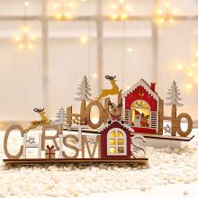 Christmas laser engraving wooden DIY assembled luminous letter card Christmas decoration supplies luminous ornaments