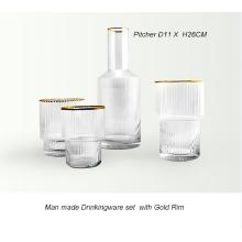 Hand Made Drinkingware Set With Gold Rim