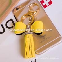 Jinhua nouveau style bas moq bowknot tassel porte-clés en cuir personnalisé