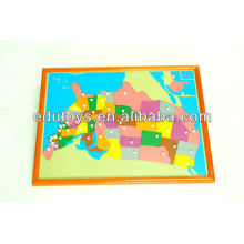 Montessori Toys - USA Puzzle Map With Beechwood FRAME