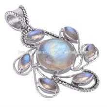 Радуга Лунный камень 925 стерлингового серебра Кулон