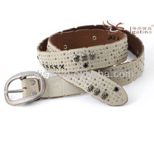 Latest Fashion Ivory Genuine Leather 2015 Skull Rivet Belts With Anti-silver Buckle BC4555G-3