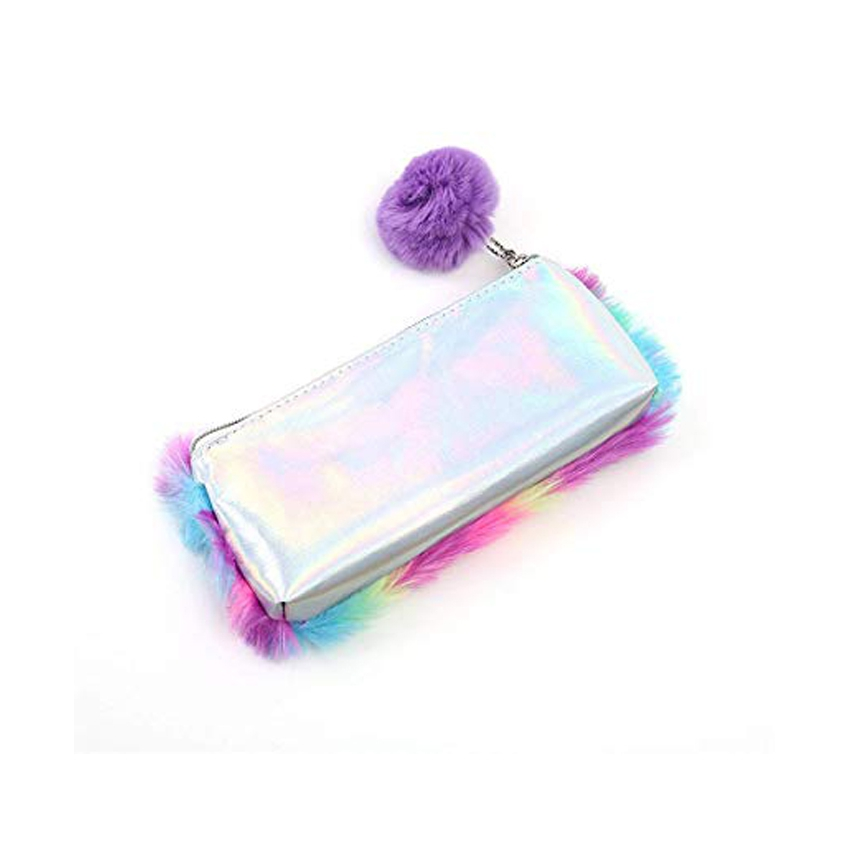 Fuzzy Pencil Case With Pompon 2