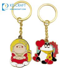 Wholesale custom metal hard enamel gold plated cartoon keyring tourism souvenir keychain