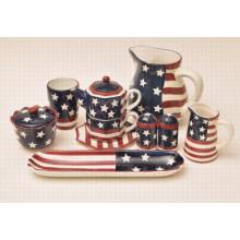 Cerâmica mão pintura bandeira conjunto