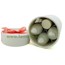 Elegante caja fuerte de cartón de cilindro blanco