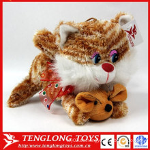 La felpa suave encantadora al por mayor más linda de la alta calidad juega el gato con la fábrica de los juguetes de la felpa del ratón hecha