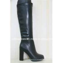 Thick Comfort High Heels Women Leather Rubber Boots