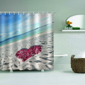Sea Beach mit Rose Love Heart Wasserdicht Duschvorhang Ocean Romantic Bathroom Decor