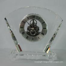 Fan Shape Crystal Clock Award New Style for Daily Use