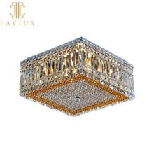 Approvisionnement d'usine chambre d'hôtel carrée grand design de luxe G9 en acier inoxydable K9 plafonnier en cristal