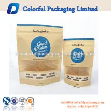 Papel kraft alimentos secos forrado doypack standup ziplock sacos de papel kraft embalagem de alimentos com janela