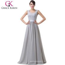 Grace Karin Off Shoulder Backless Sweetheart Robe de soiree en mousseline de soie longue robe de soirée CL6231-1
