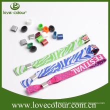 Guangzhou Fabricantes de pulseras de tela personalizada / Festival Festival de tejido Wristbands con logotipo personalizado