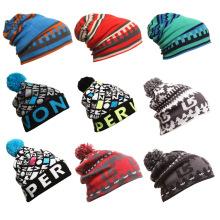 Moda jacquard acrílico malha inverno quente esqui esportes chapéus (yky3137-1)