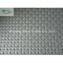 Rejilla pequeña negro PU cuero tela/imitación PU cuero tela en relieve