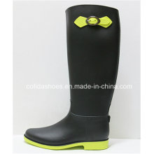 New Comfort Flat Lady Rubber Boots with Fashion Bow