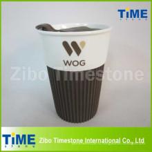 Подарочная коробка Керамическая кружка кофе с логотипом и пластиковой крышкой