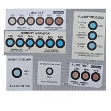 color change 6 spots blue to pink moisture indicator label