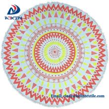 Promotional item cotton velour round printed beach towel