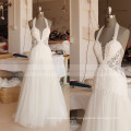 Hot Sexy See Through Backless Halter A-line Lace Tulle Bohemian Wedding Dress