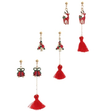 Women Christmas Tassel Earrings Set Tree Jingle Bell Deer Girls Cute Simple  Drop Ear Rings Gifts