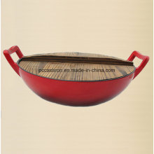 Esmalte ferro fundido Wok panelas com tampa de madeira Dia 36 centímetros