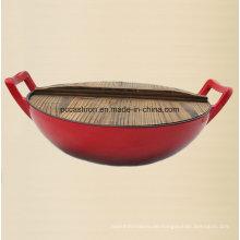 Emaille Gusseisen Wok Kochgeschirr mit Holzabdeckung Dia 36cm