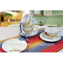 Haonai customized design mini ceramic coffee set, decal coffee mug with saucer