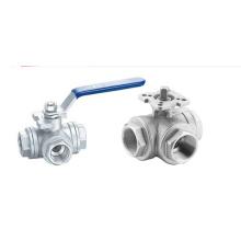 Válvula de bola de tres vías sanitaria de acero inoxidable (IFEC-BV100013)