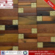 2016 novo design venda quente loja de parede de mármore da telha de mosaico de madeira mista